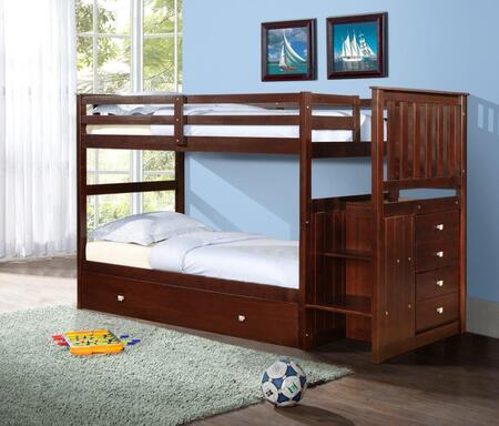 820-TTCP_503-CP Mission Stairway Bunk Bed With Trundle Bed in Dark Cappuccino