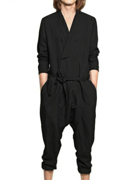 Yoins INCERUN Men Plain V-neck Long Sleeve Casual Romper Playsuit Pants Jumpsuit