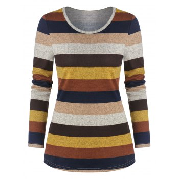 Colorful Striped Print Long Sleeve T-shirt