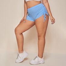 Plus Solid Drawstring Side Shorts