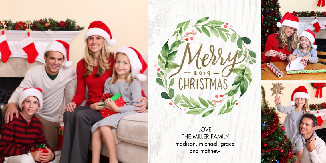 Christmas Photo Cards Flat Matte Photo Paper Cards with Envelopes, 4x8, Card & Stationery -Christmas 2019 Red Berries by Tumbalina