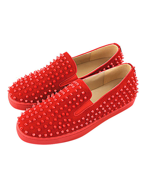 Milanoo Men Loafers Leather Round Toe Slip On Shoes Red Loafers With Spikes