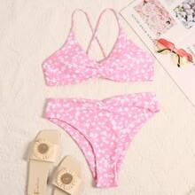 Bikini Badeanzug mit Bluemchen Muster und Ruesche