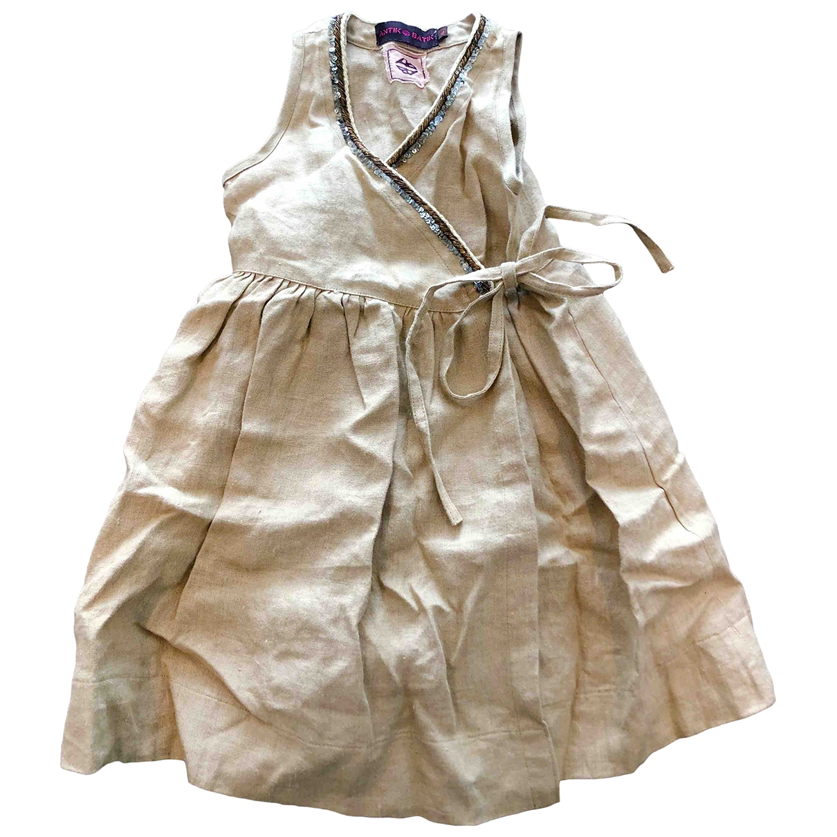 Antik Batik - Robe    pour enfant en lin - beige