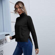 High Neck Raglan Sleeve High-low Hem Sweater