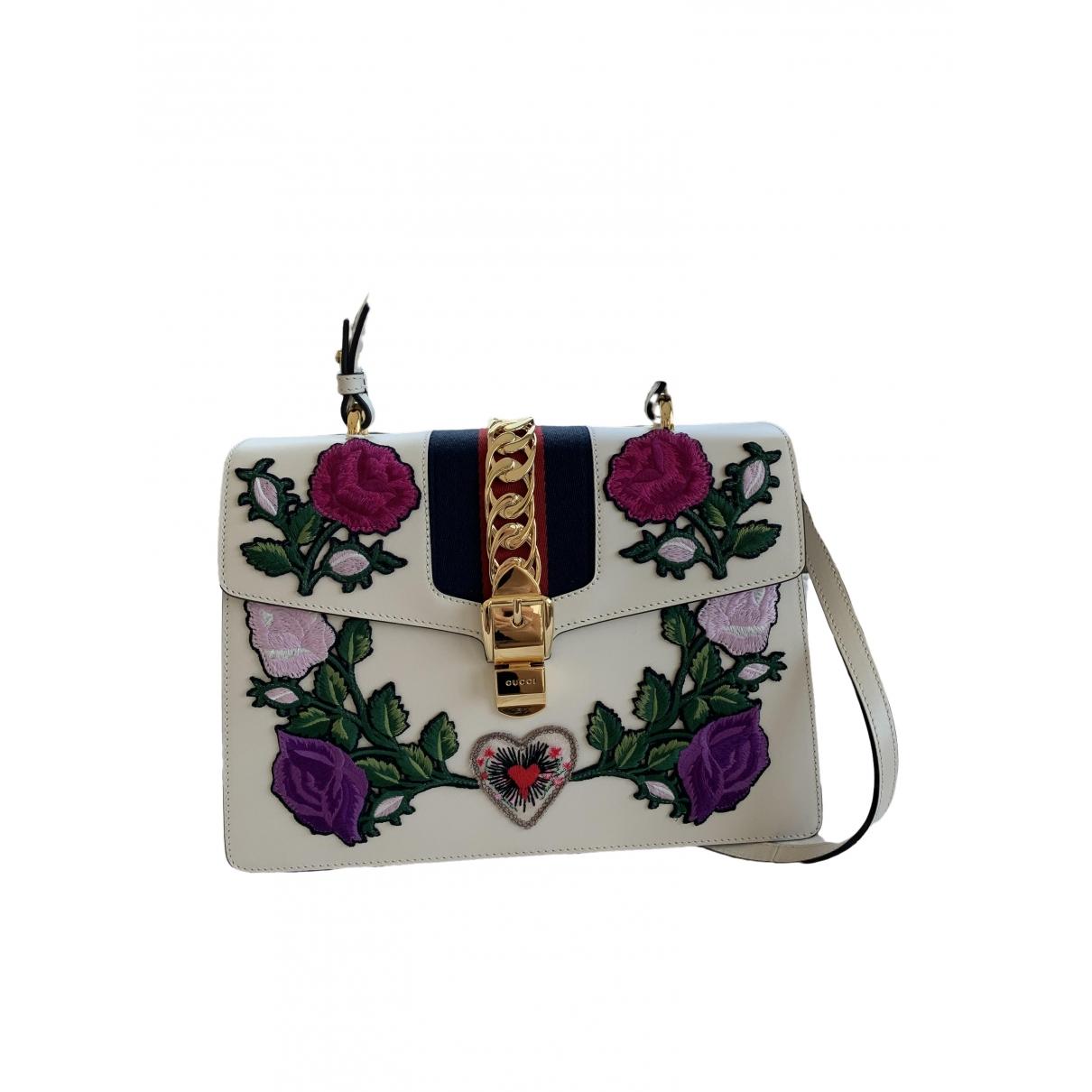 Gucci Sylvie Ecru Leather handbag for Women \N