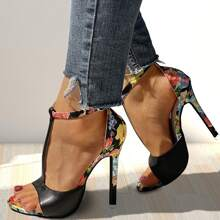 Floral Graphic T-strap Stiletto Heeled Sandals