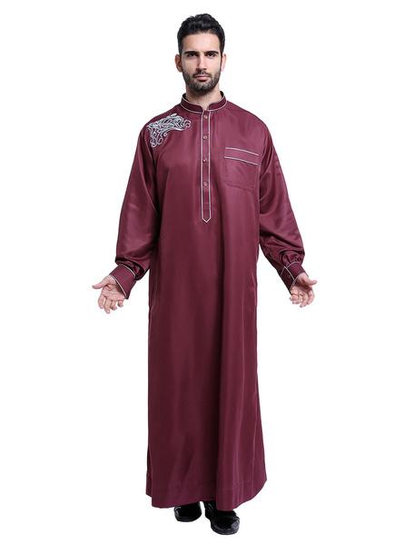 Milanoo Arabian Men Robe Stand Collar manga larga bordado Abaya