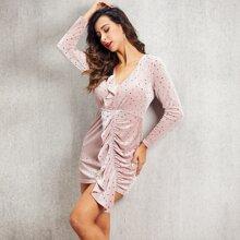 Samt Kleid mit Ruesche und Stern Muster