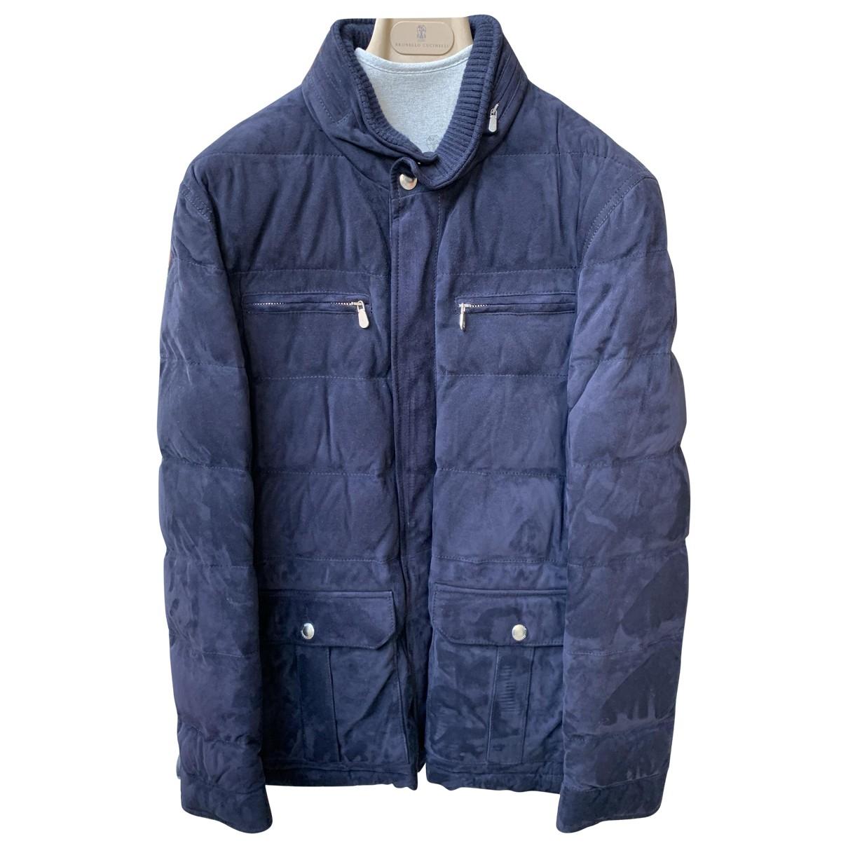 Brunello Cucinelli \N Navy Leather jacket  for Men M International