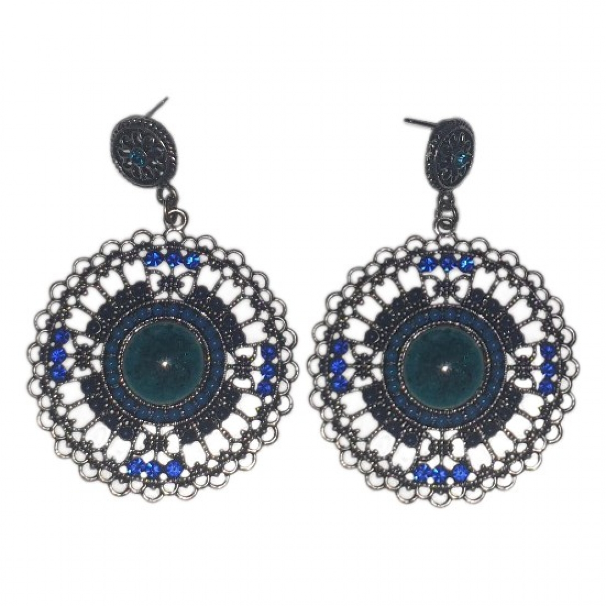 Non Signé / Unsigned Motifs Ethniques Blue Steel Earrings for Women \N