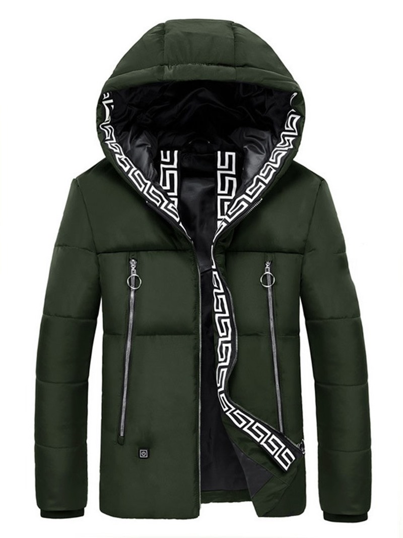 Ericdress Mid-Length Hooded Patchwork Casual Mens Down Jacket