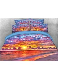 Sky Clouds and Sunset Sea Printed 4-Piece Wear-resistant Endurable Skin-friendly 3D Bedding Sets/Duvet Covers