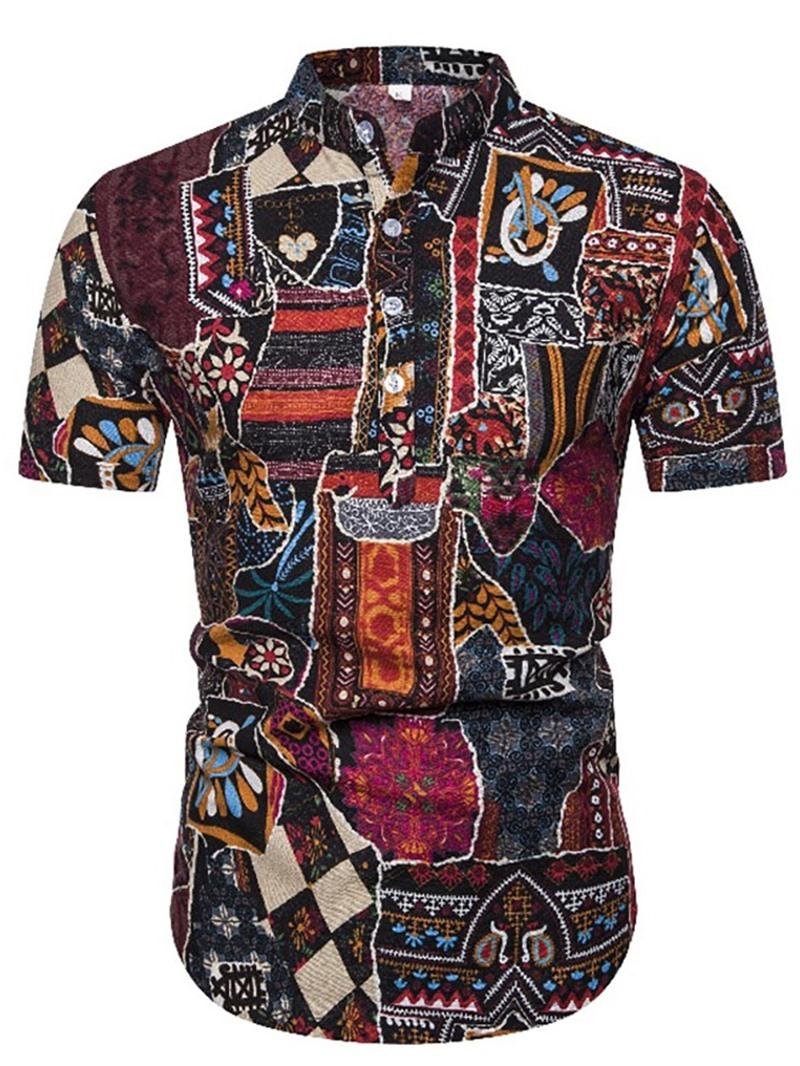 Ericdress Color Block Stand Collar Print Mens Slim Shirt