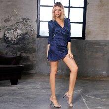 DKRX Ruched Detail Leopard Satin Dress