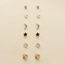 6pairs Girls Floral Shaped Stud Earrings
