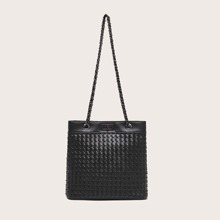 Braided Embossed Turn-lock Tote Bag