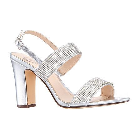I. Miller Womens Saydee Buckle Open Toe Block Heel Pumps, 7 1/2 Medium, Silver