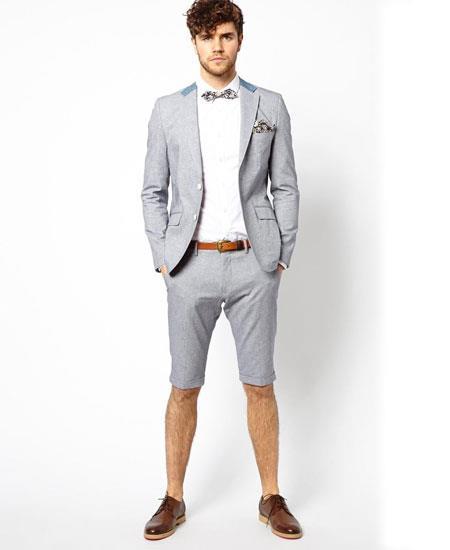 Men's Summer Business Light Gray Suits Shorts Pants Set (Sport Coat)