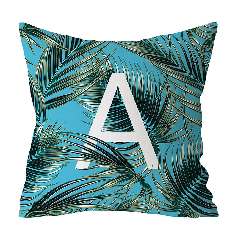 Jungle Green Plants Alphabet Letter Pattern Peach Skin Cushion Cover Home Sofa Art Decor Pillowcases