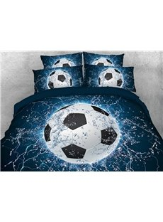 Football/Soccer with Water 3D Duvet Cover Sets 4-Piece Sports Style Bedding Sets