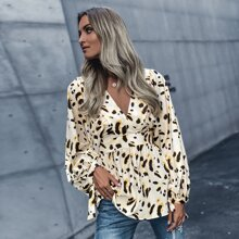 All Over Print Tie Back Bishop Sleeve Blouse