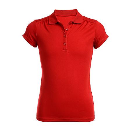 IZOD Performance Mesh Little & Big Girls Short Sleeve Wrinkle Resistant Moisture Wicking Polo Shirt, 14-16 , Red