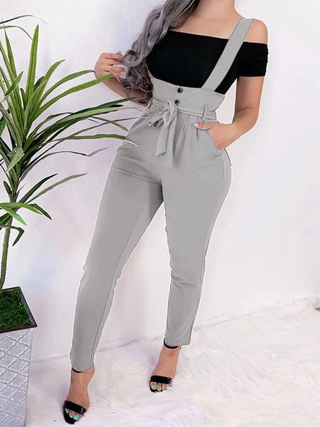 Yoins Grey With Belt Button Design Jumpsuit