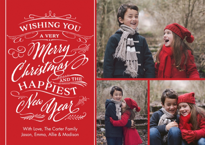 Christmas Photo Cards Flat Glossy Photo Paper Cards with Envelopes, 5x7, Card & Stationery -Christmas Wishes Swirls