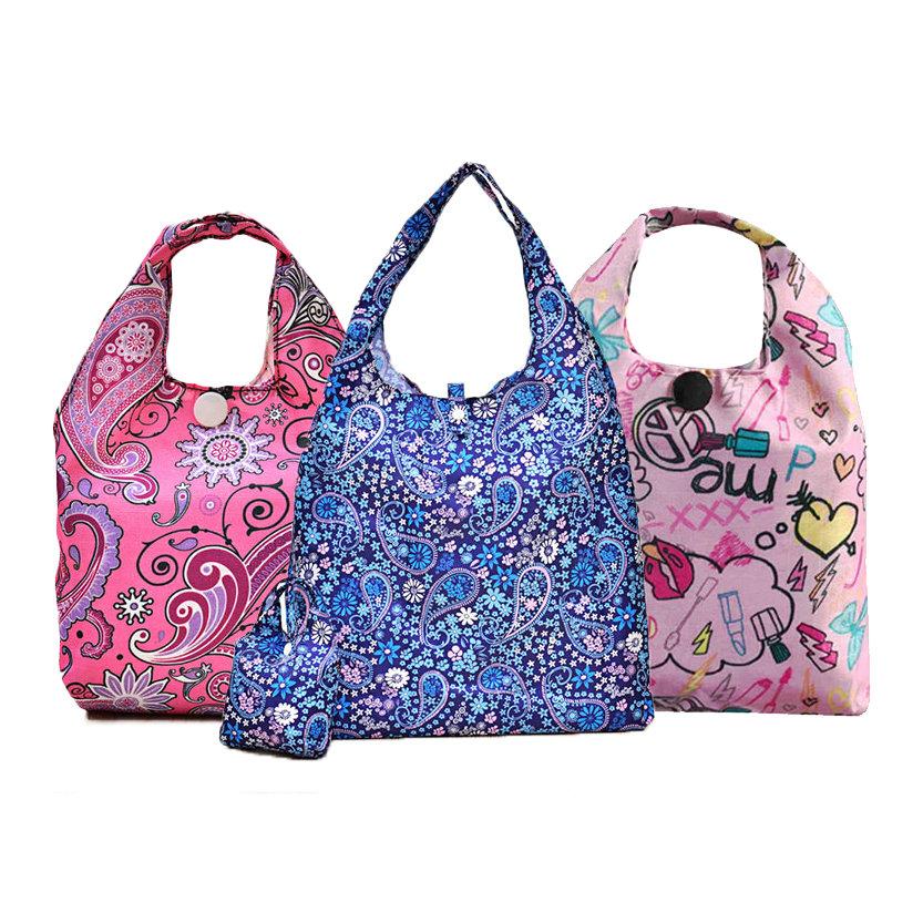 Foldable Waterproof Shopping Storage Bag Potable Reusable Handle Grocery Bag