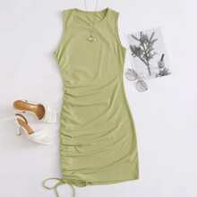Solid Drawstring Side Bodycon Dress