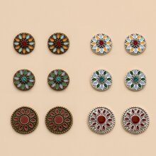 6 Paare Runde Ohrstecker mit Blumen Design
