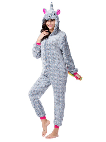 Milanoo Kigurumi Onesie Pajamas Starlet Unicorn Blue Flannel Easy Toilet Winter Sleepwear Animal Costume Halloween