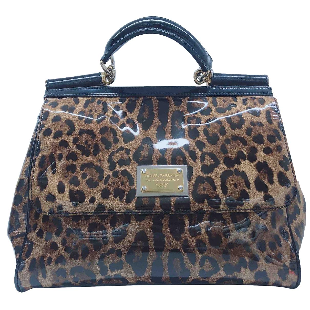 Dolce & Gabbana Sicily Handtasche in  Bunt Lackleder