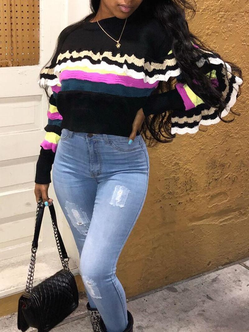 Ericdress Falbala Regular Round Neck Women's Slim Sweater