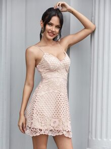 Double Crazy Guipure lace Cami Dress