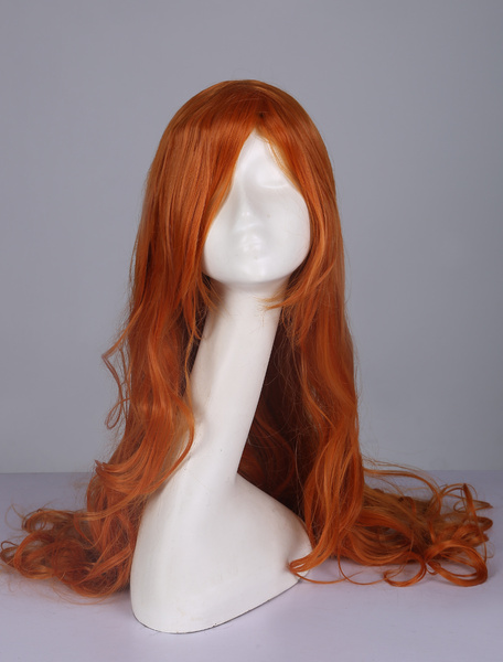 Milanoo Tousled Curly Wig Central Parting Body Wave Orange Long Women Wig