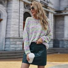 Multi-color Striped Drop Shoulder Sweater