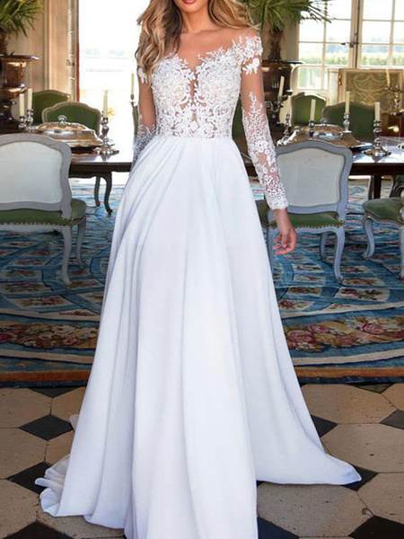 Milanoo Wedding Dresses 2020 V Neck Long Sleeves Floor Length Lace Appliqued Buttons Chiffon Bridal Gowns
