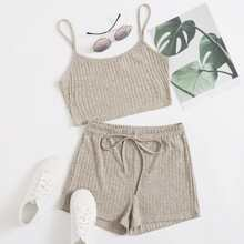 Strick Cami Top & Shorts mit Knoten vorn Set