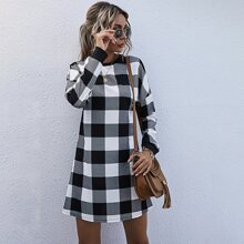 Buffalo Plaid Drop Shoulder Tee Dress
