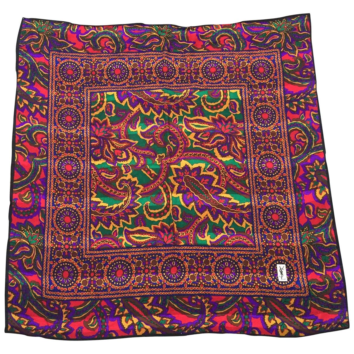 Yves Saint Laurent \N Green Cotton scarf & pocket squares for Men \N