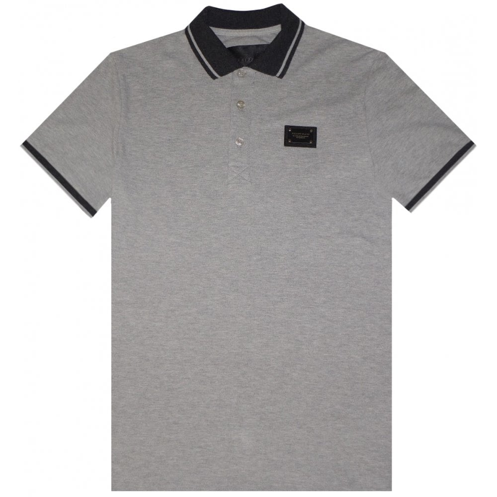 Philipp Plein Logo Patch Polo Colour: GREY, Size: MEDIUM