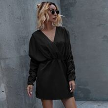 Surplice Front Ruched Batwing Sleeve Dress