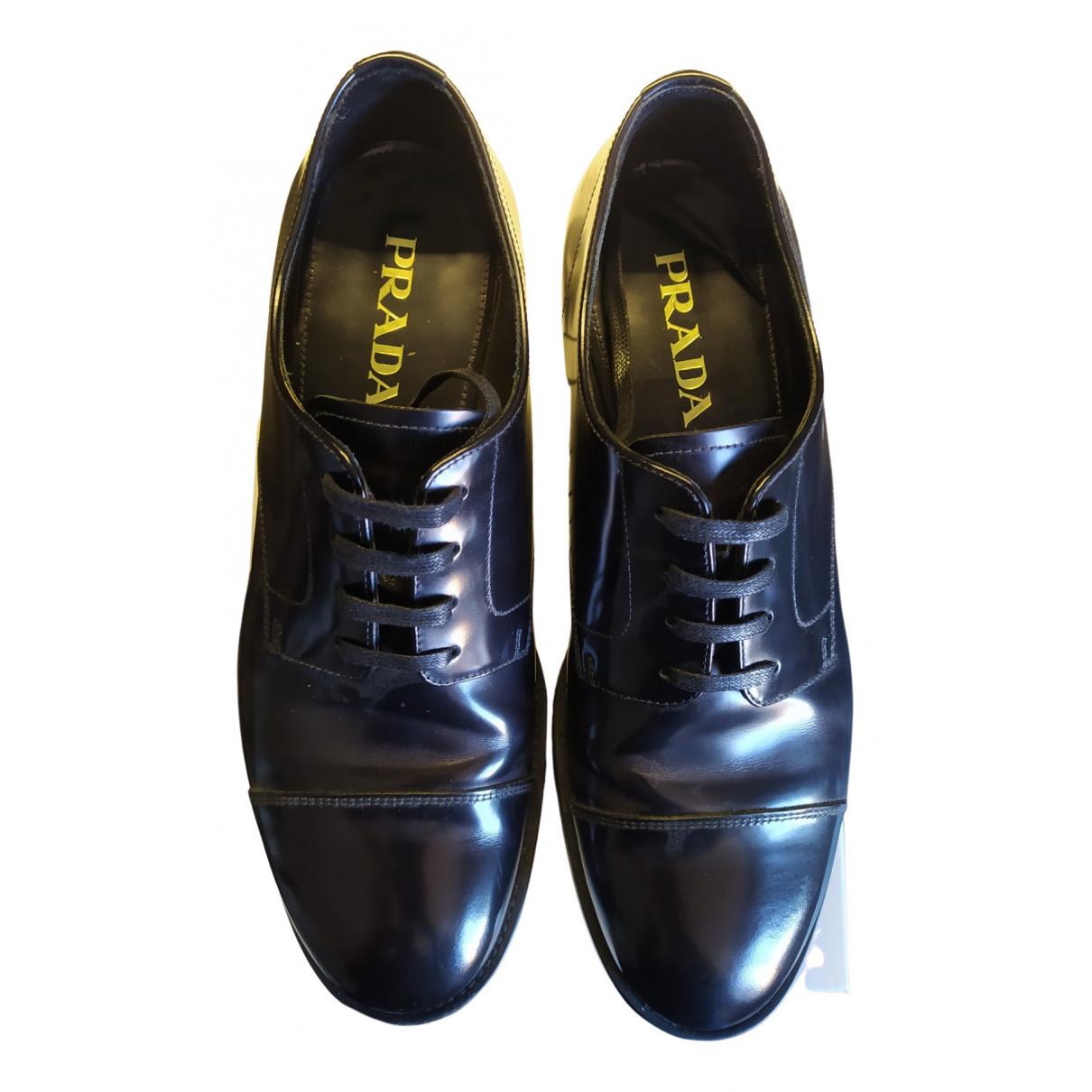 Prada N Black Leather Flats for Men 42 EU