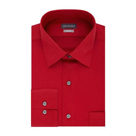 Van Heusen Lux Sateen Stretch Long Sleeve Dress Shirt - big and Tall, 17 35-36, Red