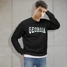 Men Letter Graphic Crew Neck Sweatshirt