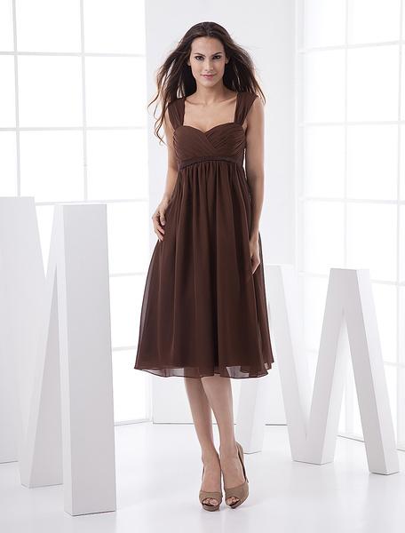 Milanoo Knee-Length Empire Waist Cocktail Dress Wedding Guest Dress