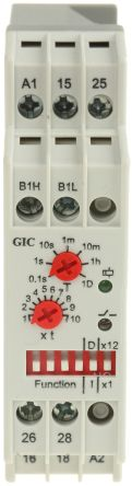 GIC SPDT Multi Function Timer Relay - 0.1 s → 120 Days, 2 Contacts, DIN Rail