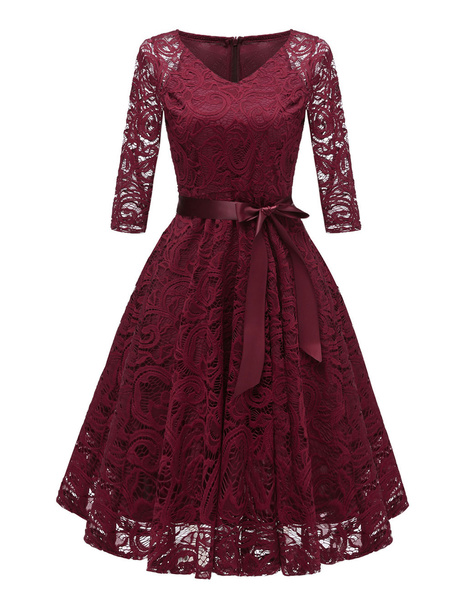 Milanoo Lace Vintage Dress V Neck Bows Solid Color Party Dress